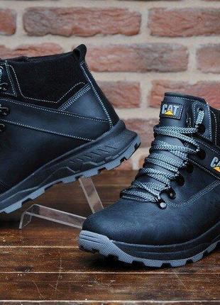 Ботинки кожаные зимние cat winter ranger black