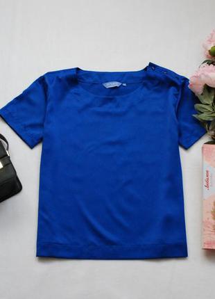 Мегаскидки, распродажа, большой выбор...синяя базовая блуза с пуговками на плече elegance