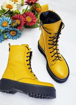 Трендовые ботинки на платформе из натуральной кожи