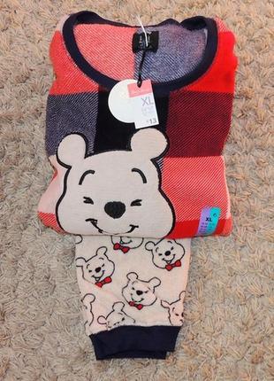 Очень теплая женская пижамка, пушистый флис, primark, англия. размер 18-20(xl)