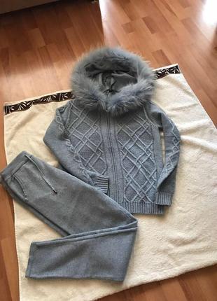 Шерстяной костюм тёплый костюм прогулочный утеплённый