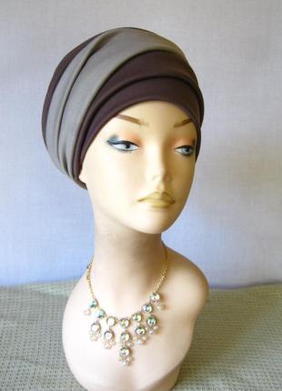 Шапка - шляпа фасон чалма, универсального размера, 54-62