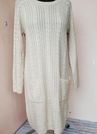 Вязаное платье туника длинный свитер