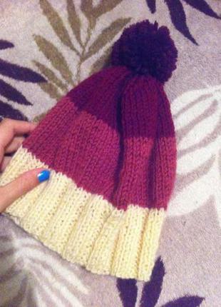Зимняя вязаная шапка,цвет переход(омбре)