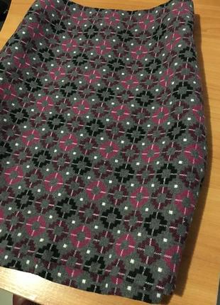 Теплая твидовая юбка m&s оригинал