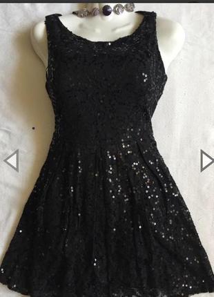 Классное кружевное платье с блесками раз s-m (44-46)