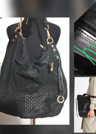 Фирменная кожаная большая сумка шопер, 100% кожа, ефект плетения супер качество!!!