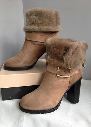 Ботинки ботильоны зимние кожаные на меху цигейки, jimmy choo, оригинал.