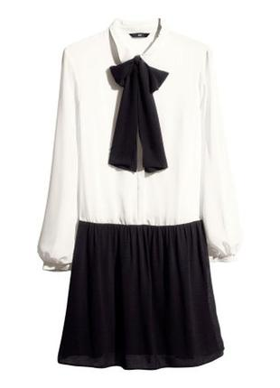 Шифоновое платье с бантом h&m, 38
