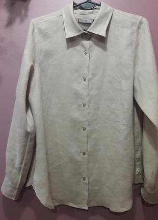 Лляная рубашка натурального бежевого цвета