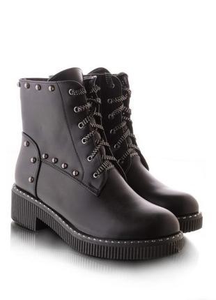 Стильные женские ботинки зимние на шнурках шнуровке зима берцы