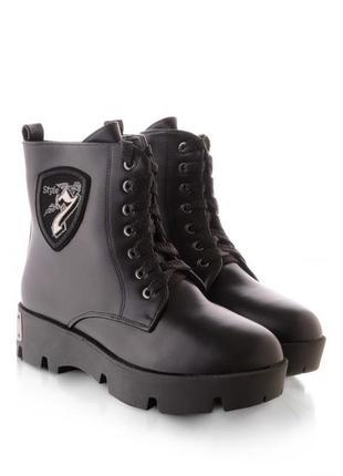 Женские ботинки зимние берцы на шнурках шнуровке тракторной подошве