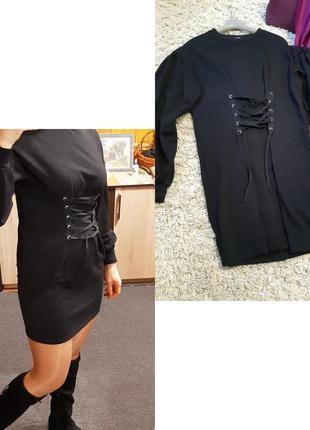 Стильное платье с обьемным рукавом и карсетной затяжкой, bershka, p. 6-12