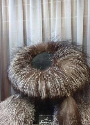 Шикарная шуба в пол 52р + шапка3 фото