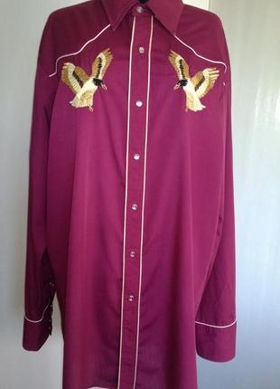 Удлиненная рубашка вышивка винтаж johnny west