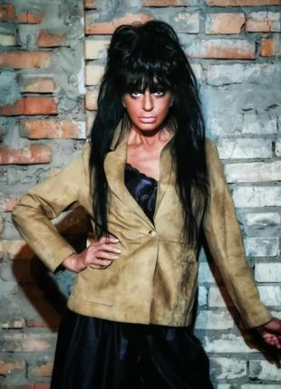 Натуральная кожаная куртка пиджак жакет с карманами marks&spenser