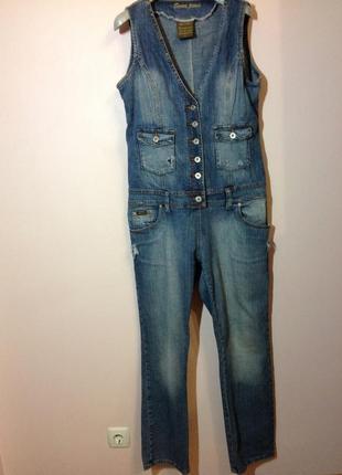 Джинсовый стильный потёртый комбинезон. /xl/ brend seven jeans