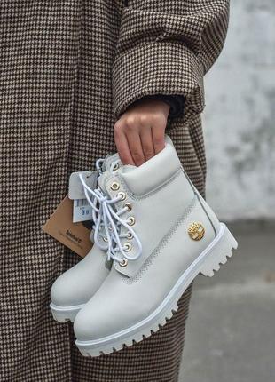 Шикарные женские зимние ботинки timberland white fur 😍 (на меху)