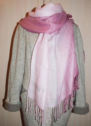 Pashmina  розовый светлый кашемировый градиентный градиент шарф  шелковый теплый