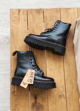 Женские зимние кожаные ботинки/ сапоги dr. martens jadon black fur на платформе 😍с мехом