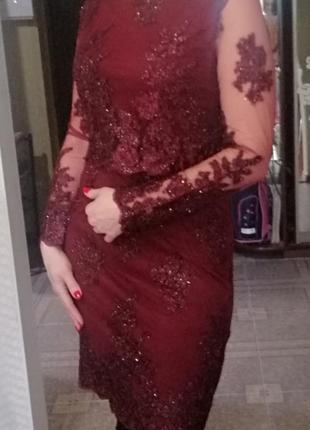 Нарядное платье. марсала. s-m