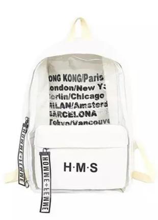 Стильный, прочный рюкзак с прозрачной вставкой
