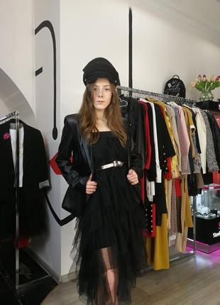 Стильный черный сарафан платье из фатина юбка пышное вечернее на бретелях