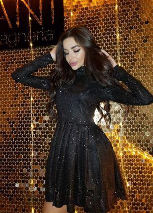 Платье (серебро, чёрное) мерцающее на новый год 2020
