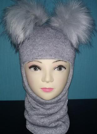 Зимний шлем с люрексом
