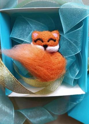 Валяная брошь лисичка лиса лисёнок лис значок войлок валяние