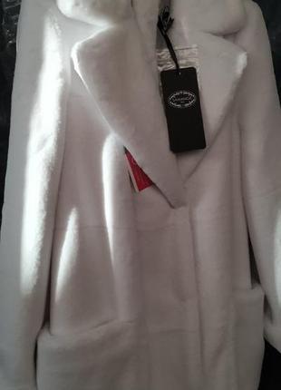 Белоснежная шуба,стриженная норочка,размер 40