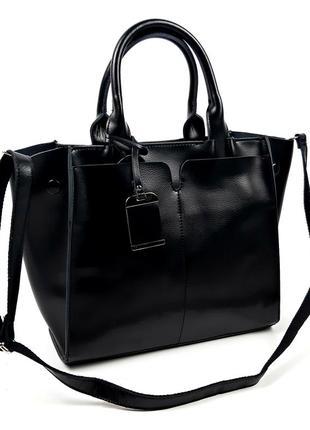 Большая женская кожаная сумка черного цвета galanty