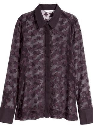 Сливовая блуза с объёмным рисунком h&m / l