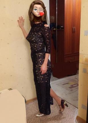 Стильное кружевное вечернее платье на новый год / корпоратив / вечеринку