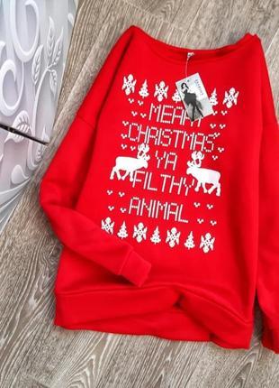 Новогодний свитер, новый на флисе