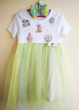 Нарядное платье для девочек с 98 до 128 роста