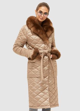 Женское стеганое зимнее пальто с натуральным мехом размеры: 42-50