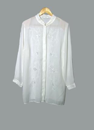 Шифоновая блуза -рубашка с вышивкой