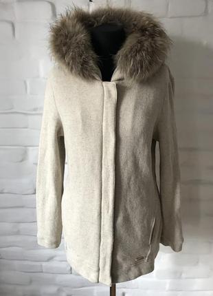 Woolrich женская вязаная куртка с натуральным мехом рl!