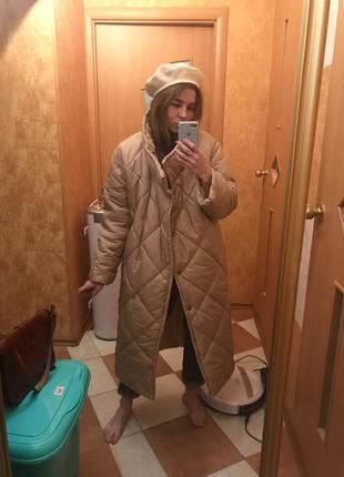Пуховик одеяло куртка длинный стеганый зима холофайбер холлофайбер синтепон для беременных