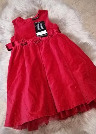 Нарядное, бархатное платье next на 3-4 года