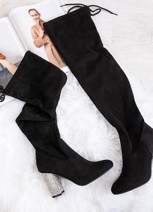 Ботфорды черные каблук в камнях