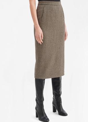 Шерстяная юбка карандаш гусиная лапка клетка hammer woolmark
