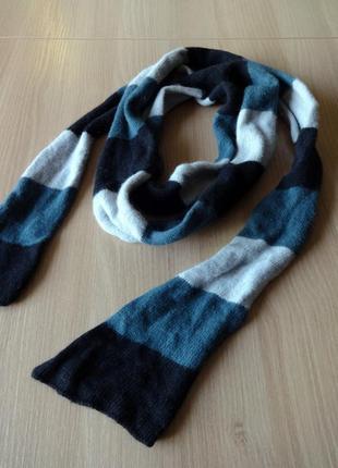 Шерстяной полосатый шарф