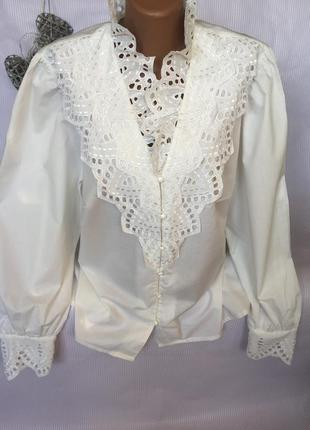 Шикарная  батистовая рубашка блуза с ажуром