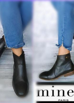 39-40р кожа новые minelli франция кожаные ботинки