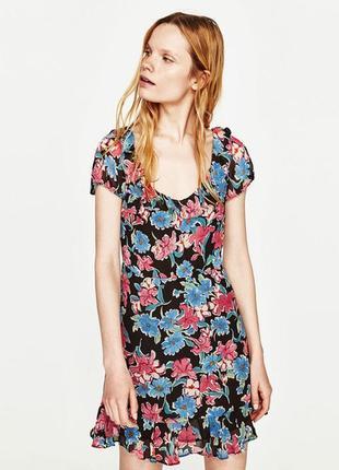 Zara trafaluc collection цветочное 🌷🌹женственное мини-💃платье.