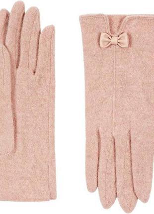 Шерстяные розовые перчатки accessorize,m/l р. новые! 77% шерсть.