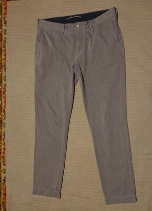 Узкие плотные мягкие коричневые х/б брюки j lindeberg швеция 32/32