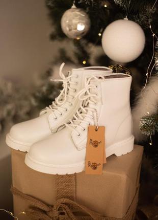 Dr. martens 1460 white fur женские зимние ботинки мартинс белые с мехом